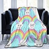 Lujosa manta aterciopelada de microterciopelo suave para dormir con nubes y arco iris, personalizada, antiestática para todas las estaciones, para sofá, cama