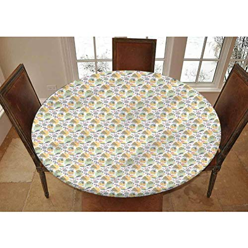 Lyheller Retro Elastic Edged Polyester Fitted Tablecolth -Memphis Style Motifs- Large Round Fitted Table Cover - Fits Tables up to 45-56' Diameter,The Ultimate Protection for Your Table