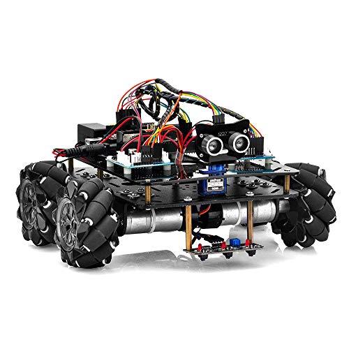 OSOYOO 産業研究開発用 ロボットカー Arduino適用 スマートロボット 4WD 80mm メカナムホイール DC12V モーター STEM 教育 360°全方向移動 Omni directional (カーシャーシ+ Arduino用電子部品キット)