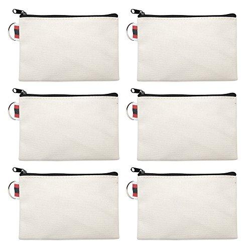 Aspire 6 Bolsas de Lona de algodón con Cremallera, Bolsa de almacenamiento con hebilla, Multiusos, para Maquillaje, Almacenamiento de Viaje,6 x 4 pulgadas de almacenamiento y bolsas de bricolaje