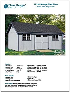 How To Build Guide 12' x 24' Shed Plans, Material List and Step By Step Included, Design# D1224G,