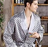 Herren Robe Nachthemd Satin Bademantel Casual Nachtwäsche Plus Size Print Gold Home Morgenmantel 3XL 4XL 5XL-Sliver 1-7-XXL
