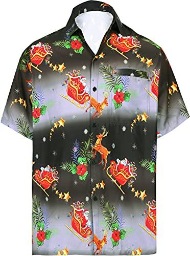 LA LEELA Men's 3D HD Santa Claus Christmas Beach Camp Short Sleeve Hawaiian Shirt 4XL Black_AA255