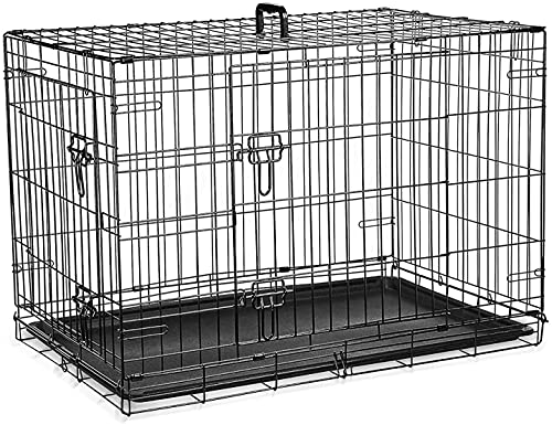 Dog Cage Crate – Pet Black Metal Folding Cage with 2 Doors (Front & Side) with Chew Resistant Plastic Base Tray and Carrier Handle – Heavy Duty Box Perfect for Puppy Training (Medium)