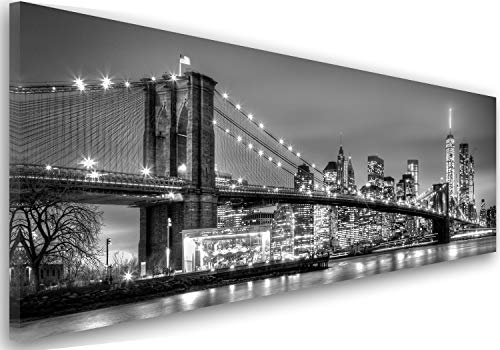 Feeby Frames, Leinwandbild, Bilder, Wand Bild, Wandbilder, Kunstdruck 40x100cm, Brooklyn Bridge, New York, Stadt, Wasser, GEBÄUDE, Wolkenkratzer, Architektur, Ansicht, SCHWARZ-Weiss