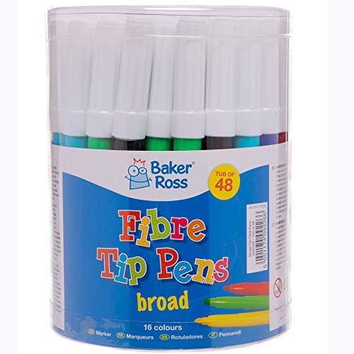 Baker Ross Großpackung Filzstifte mit breiter Spitze (48 Stück) – für Kinder zum Malen, Schreiben und Basteln