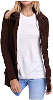 neveraway Womens Basic Style Hooded Button-up Tops Outwear Open Cardigan