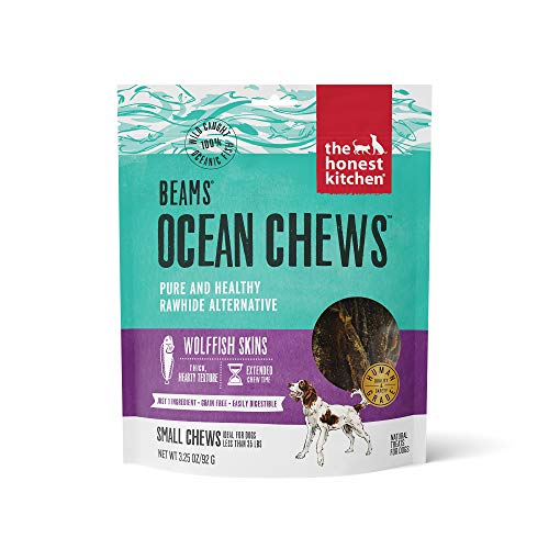 The Honest Kitchen Wolffish Ocean Chews Grain Free Dog Chew Treats – Natural Human Grade Dehydrated Fish Skins 3.25 oz