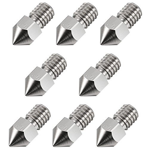 RETYLY 8Pack 0.4 mm 3D Printer Extruder M6 Steel Nozzle Print Head for 1.75 mm MK8 3D Printer