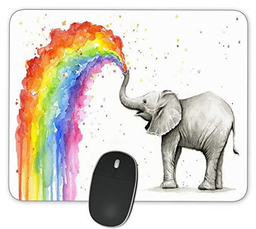 Watercolor Elephant Spray Rainbow Gaming Mouse Pads-Rectangle Mouse Mat for Cute Women, Girls, Non-Slip Rubber Mousepad for Office Computers Laptop