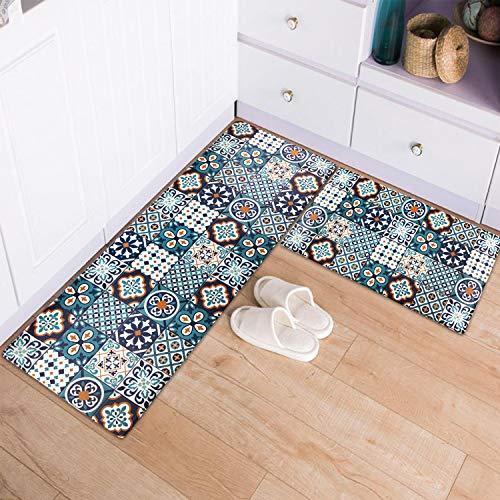 Kitchen Mat for Floor 2 PCS Kitchen Rug Waterproof Non-Slip Floor Mat Heavy Duty PVC Ergonomic Comfort Standing Foam Mat for Kitchen Floor Office Home Laundry, 17''x30''+17''x48'', Teal