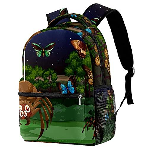 Kinder Rucksack Schultasche Leichte Kinder Grundschule Tasche Große Kapazität Vorschulkindergarten Buch Reisetasche Schmetterlinge und Spinnen in der Nacht
