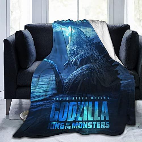 Wteqofy Godzilla Decke Lustige Tiere die ganze Saison umkehrbare Fuzzy-Mikrofaser Gemütliches Bett Sofa Decke Klimaanlage Quilt Decke für Kinder Teenager Erwachsene 50x40inch