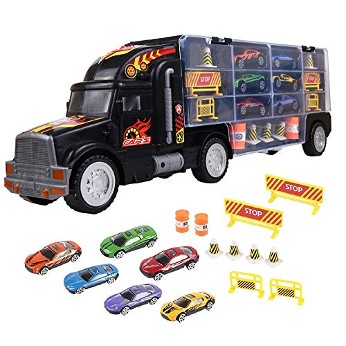 Soka® Transport Carrier Truck Toy, Car Transporter with 6 Colorful Mini Metal Cars for Boys and Girls