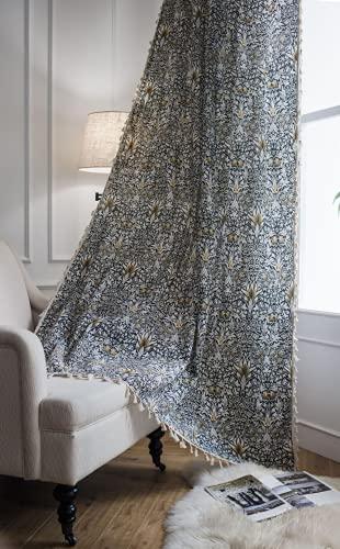 1 pezzo di tende da finestra semi-oscurante giallo erba provenzale per soggiorno camera da letto, stile Punch 59 'L x 102' L (150x260 cm)