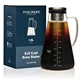 Airtight Cold Brew Iced Coffee Maker (& Iced Tea Maker) with Spout – 1.5L/51oz Ovalware RJ3 Brewing Glass...