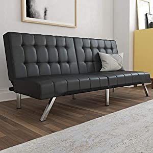 Modern low profile design futon frame with chrome metal legs and square tufted backrest and seating Split back design provides multiple positions including lounging and sleeping for top comfort Pair with the matching chair, chaise lounger and/or otto...