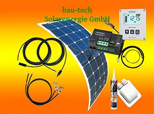 100 Watt Flexi Wohnmobil Camping Wohnmobil Solaranlage mit Votronic Laderegler und Solarcomputer, 12 Volt SET, von bau-tech Solarenergie GmbH