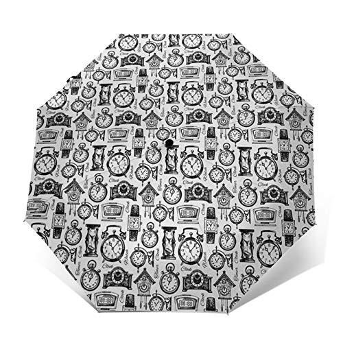 Paraguas Plegable Automático Impermeable Relojes analógicos de Pulsera Digitales Sketch, Paraguas De Viaje Compacto a Prueba De Viento, Folding Umbrella, Dosel Reforzado, Mango Ergonómico