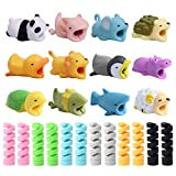 24 Pcs Charger Cable Protectors for iPhone/iPad/iwatch/Earphone, Cute Cartoon Animal USB Charging Cable Saver Phone Accessory and Spiral Tube Spring-Shaped Flexible Wire Protector