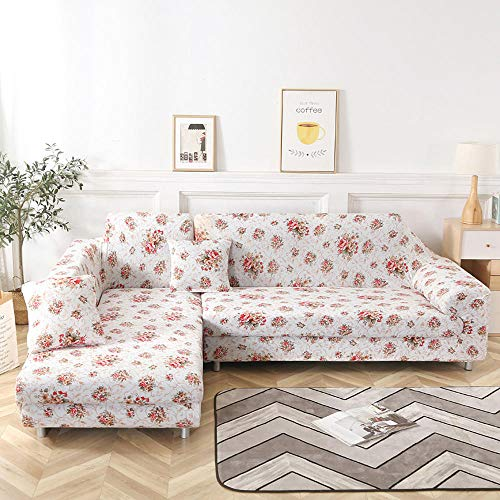 Nannan Bankovertrek voor hoekbank, in L-vorm, woonkamer, sofa, sectionele sofa, met elastische overtrek