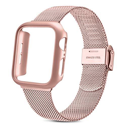 Yisica Cinturino e Cover per Apple Watch 40mm 44mm Custodia Rigida Protettivo Case, Metallo Sottile...