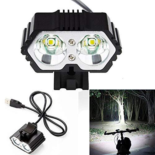 JUSHINI Fahrradlicht Set Superhelle 6000 Lumen T6 LED Vorderlicht Scheinwerfer Mountain Cycling Sicher Nachtfahrt USB Wiederaufladbare Fahrradbeleuchtung 4 Lichtmodi Lamp