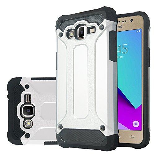 AnnaRT - Carcasa antigolpes para Samsung Galaxy Grand Prime Plus / Grand Prime (2016)/Galaxy J2 Prime/SM-G532F (carbono), color plateado