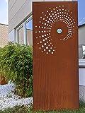 Zen Man Garten Sichtschutz aus Metall 1mm Rost Gartenzaun Gartendeko rost Sichtschutzwand mit Glasdeko (032100-4: B75*H180cm)