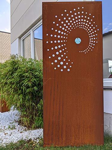 Zen Man Garten Sichtschutz aus Metall 1mm Rost Gartenzaun Gartendeko rost Sichtschutzwand mit Glasdeko (032100-2: B75*H150cm)