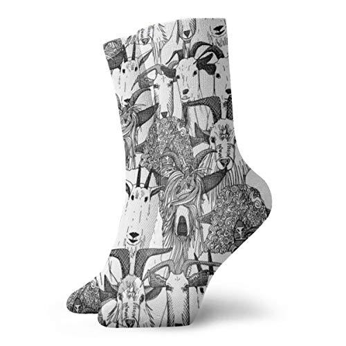 Gewoon Geiten Zwart Wit Modieuze Kleurrijke Funky Patroon Katoen Jurk Sokken 11,8 inch
