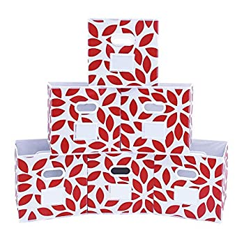 MAX Houser Fabric Storage Bins Cubes Baskets Containers with Dual Plastic Handles for Home Closet Bedroom Drawers Organizers Foldable Set of 6  Red