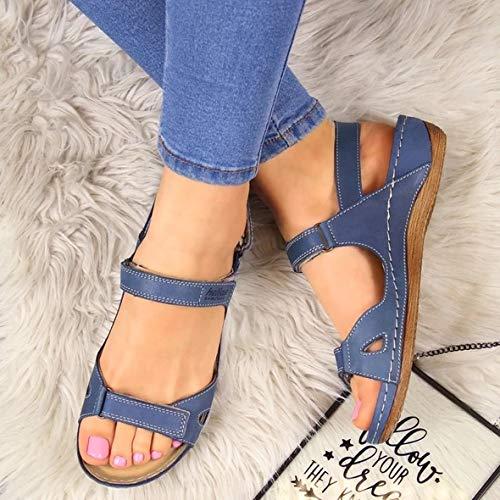XG-BH Sandalias de Verano con Punta Abierta para Mujer Súper Suaves Zapatos de tacón bajo ortopédicos Premium Sandalias para Caminar Envío de la Gota Corrector de Punta Cusion,A,38