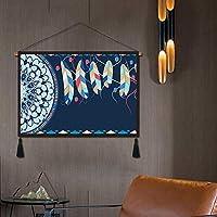 GCZZYMX Boho Chic Bohemian Tapestry、プリントコットンリネンの壁掛け、寝室の壁のピンチング室のリビングルームの家の装飾l 45X120Cm(17.7X47.2Inch),F,65 * 45Cm(25.6×17.7インチ)