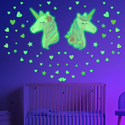 Glow in The Dark Stars for Ceiling 2 Sheets Unicorn Wall Decal for Girls Bedroom Unicorn Room Decor for Girls BedroomUnicorn Wall Stickers for Kids