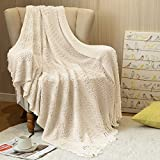 jinchan Ivory Throw Blanket Knit Blanket for Bed Sofa Woven Blanket Throw with Tassels Lightweight Textured Throw Couch Cover Home Decor Soft Blankets All Season Gifts Kids Girls 50x60 Inch
