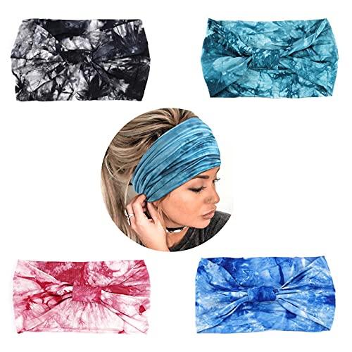 Yean Boho, diademas de teñido anudado, anchas, transpirables, para el pelo, para mujeres y niñas (paquete de 4)