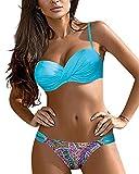 CMTOP Playa Conjuntos de Bikini Trajes de Baño Mujer Sexy Push-up Acolchado Bra Tops de Bikini Verano Tanga Traje de Baño Conjunto Bañador Halter Traje de Baño Floral de Colores (Cielo Azul, M)