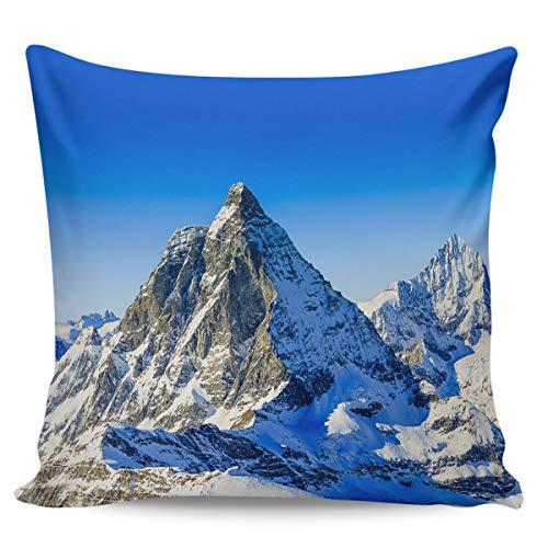 Housse de coussin décorative - Magnifiques Alpes - Blanc pur - Spacieux - Montagne - Ciel bleu - Ultra douce - Confortable - Pour canapé, chambre à coucher, 66 x 66 cm