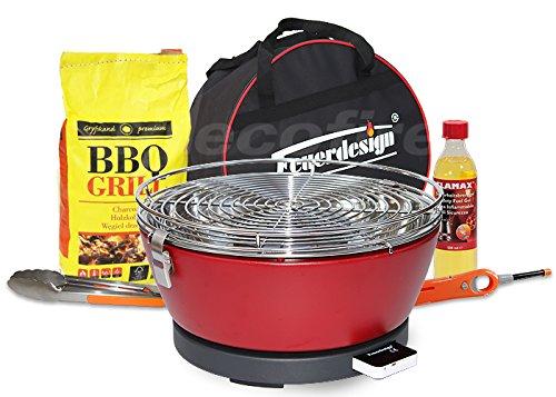 Feuerdesign Rauchfreier Holzkohle Tischgrill Vesuvio v Rot, im Super Pack mit viel Grill-Zubehör