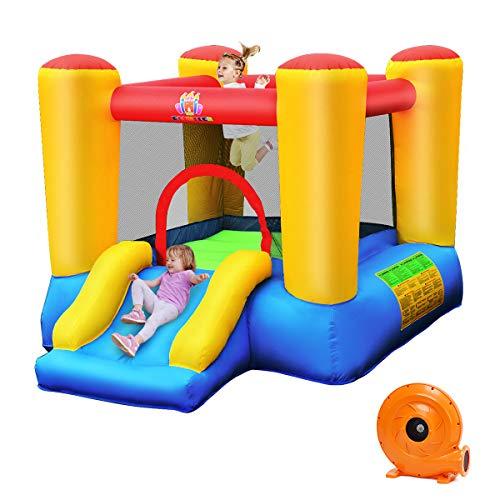 COSTWAY Castillo Hinchable con Tobogán para Niños con Soplador Centro de Juego con Bolsa de Transporte para Parque Patio Jardín Exterior