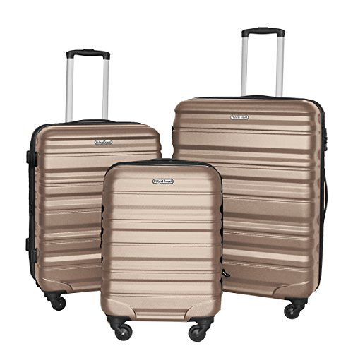 HyBrid & Company Luggage Set Durable Lightweight Hard Case Spinner Suitcase LUG3-SS559A, 3 Pieces, Champagne