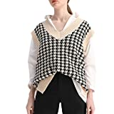 Sdencin Women Houndstooth Pattern Knit Sweater Vest Sleeveless Loose V-Neck 90s Waistcoat Pullover Knitwear Top Off-White