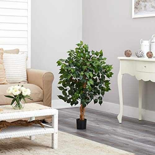 Product Image 5: Nearly Natural 3′ Ficus Silk Artificial Trees, 36in, Green