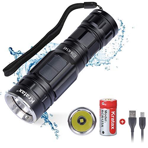 Kratax Torcia LED Ricaricabile Portatile Mini 700 lumens 5 Modalità Impermeabile IPX7 Gittata 118m Ricaricabile USB per Escursionismo Campeggio, Luce Cinturino per Bicicletta Inclusa
