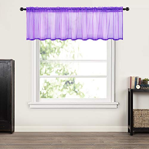 MIULEE Window Valance Half Window Sheer Curtains Rod Pocket Semitranslucent Voile Drapes Extra Wide for Small Window Kitchen Cafe One Panel 60 x 18 Inch Purple