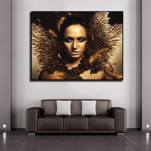 BLLXMX Pinturas en Lienzo Modern Golden Woman Makeup Feather Girl Posters e Impresiones Imágenes de Pared Sala de Estar Decoración para el hogar-60x80cm Sin Marco