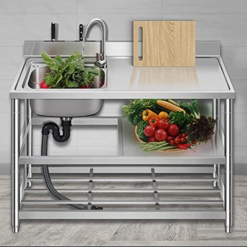 Household Products Kommerzielle Edelstahlspüle mit Ständer, Küchenspüle mit Werkbank, Mit Messerhalter und Warm- und Kaltwasserhahn Praktisches Waschbecken, Mit Filter und doppeltem Ablagefach