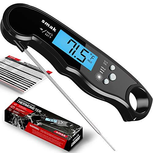 Digitales Fleischthermometer, wasserdicht, mit Hintergrundbeleuchtung, LCD-Anzeige, schnelles, elektrisches Fleisch-Thermometer, für Grillen, Smoker, Süßigkeiten, Backen, Truthahn Dark Steel