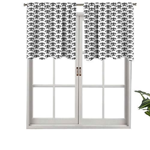 Cenefas opacas para cortina con diseño de heráldica europea con ricos capullos de iris, juego de 2, 106,7 x 60,9 cm para interior, comedor o dormitorio